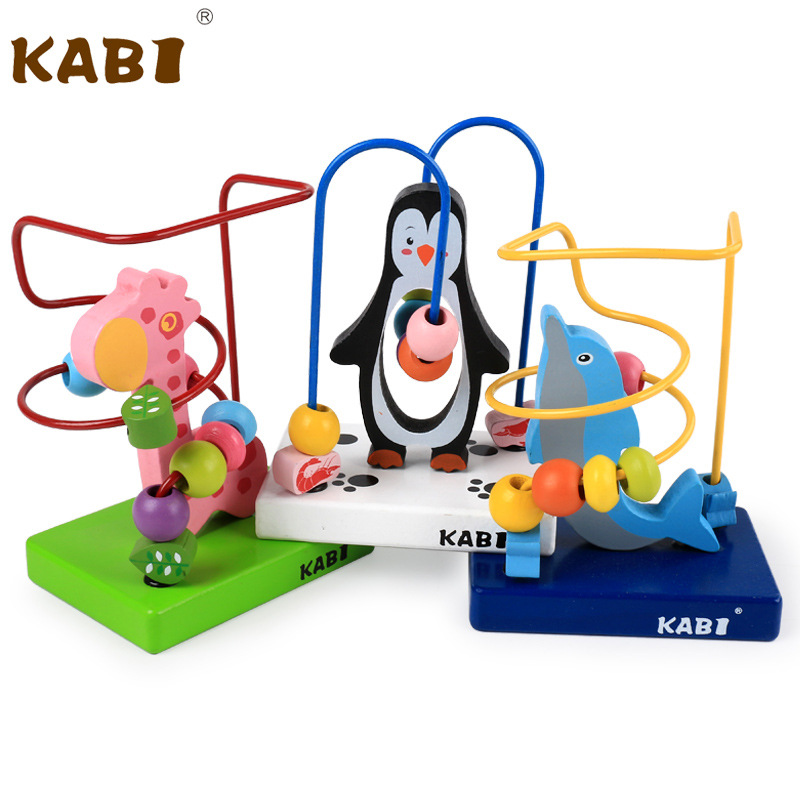 Douyin Hot Selling Toy Wooden Cartoon Animal Mini Bead-stringing Toy 2-3-4-Year-Old Baby Early Childhood Educational Toy