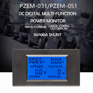 PZEM-031/051 DC Digital Ammeter Voltmeter 6.5-100V 4 IN1 LCD Motorcycle     With 50A/100A Shunt