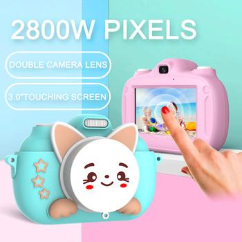Podwójny aparat z WiFi śliczne dzieci aparat cyfrowy HD zdjęcie mini aparat sportowy wideorejestrator edukacyjne zabawki dla dzieci aparat fotograficzny tanie i dobre opinie A TREE SCIENCE 2x-7x Brak Sd (640x480) 4 3 cali 4 5-54mm 24 0MP Karta sd Ekran HD 2 -3 Zdjęcie JPEG Wideo AVI Audio WAV