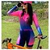 Rosa de manga longa camisa ciclismo skinsuit 2020 mulher ir pro mtb bicicleta roupas opa hombre macacão gel almofada skinsuit 10