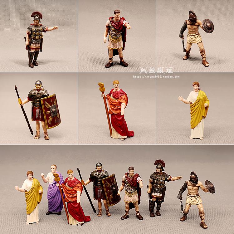 Medieval Castle Miniature Figurine Ancient Rome Emperor Caesar Pope Missionaries Gladiator Rome Soldier Lady Model Toys Decor