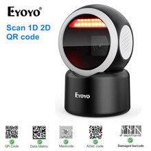 Eyoyo 2D Desktop Barcode Scanner Omnidirectional Hands-Free 1D QR Barcode Reader Automatic Sensing Scanning Platform Scanner