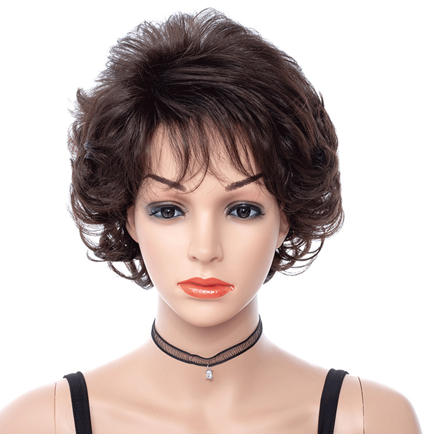 Dark Brown Short Wavy Wigs Women Synthetic Hair With Bangs For Mother Wig Middle Aged Female High Temperature Fiber