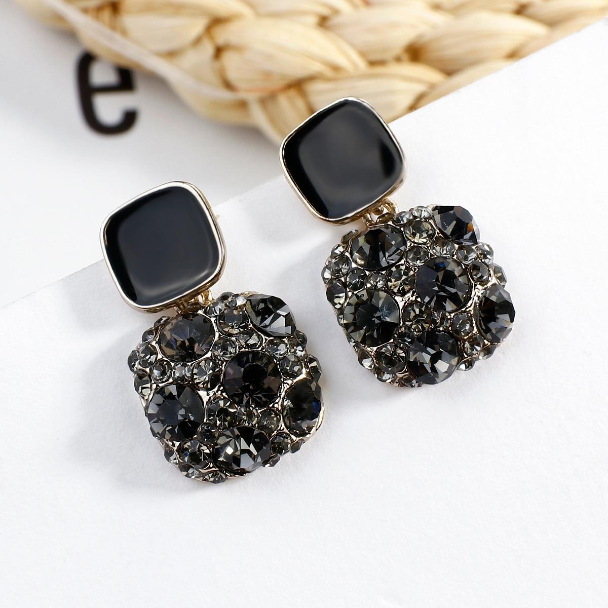 AENSOA New 2020 Fashion Women Crystal Earrings Small Rhinestone Vintage Korean Earrings Trendy Cute Lovely Shiny Party Jewelry