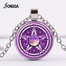 Púrpura Triple diosa de la luna collar de pentagrama sobrenatural Wicca protección colgantes de cristal collar mágico para hombres y mujeres
