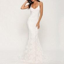 V Neck White Evening Dress Spaghetti Straps Floor Length Mermaid Sleeveless Lace Women Wedding Party Formal Dresses