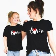 «mommy and me» Мышь: футболка с надписью «love» для мамы и дочки