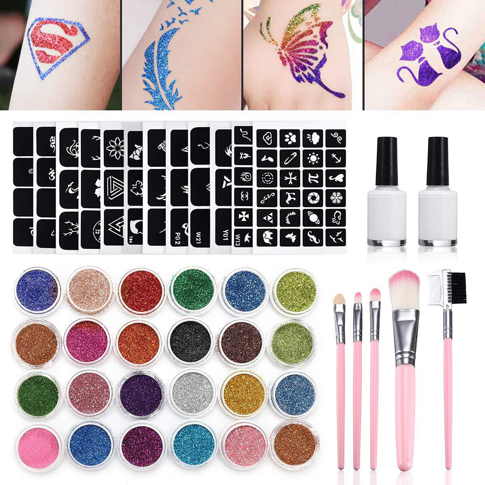 24Pcs Color 125 Templates Set Flash Diamond Glitter Flash Powder for Temporary Tattoo Set Kids Face Body Painting Art Tools Suit