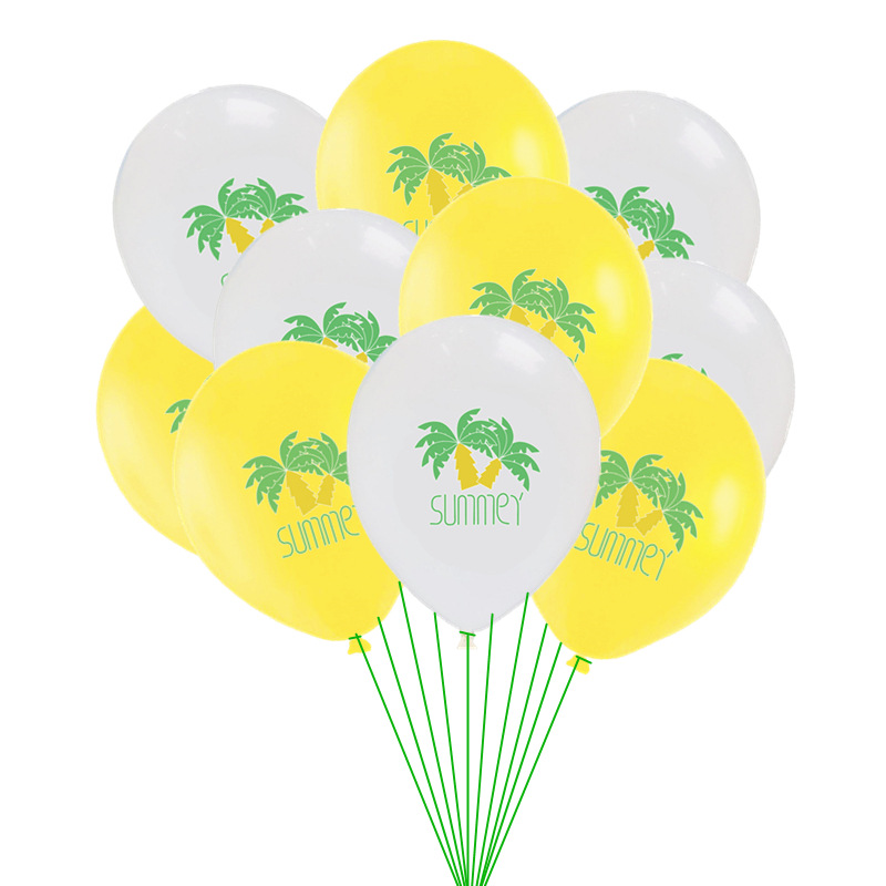 10PCS Summer Ice Cream Glasses Leaves Balloons Latex Happy Birthday Balloon Babyshower Wedding Party Hawaii Theme Decor Supplies in Ballons Accessories from Home Garden