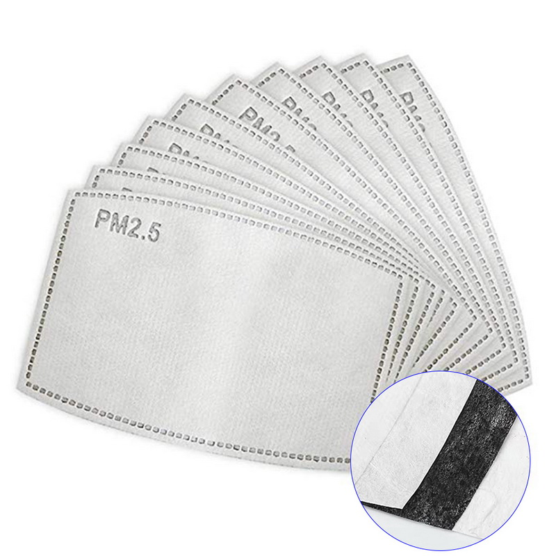 200PCs 5 Layers 12.5*8cm Adult Mouth Mask Filter Pad Disposable Anti Virus PM2.5 Filter Paper Masks Replaceable Filters Cover
