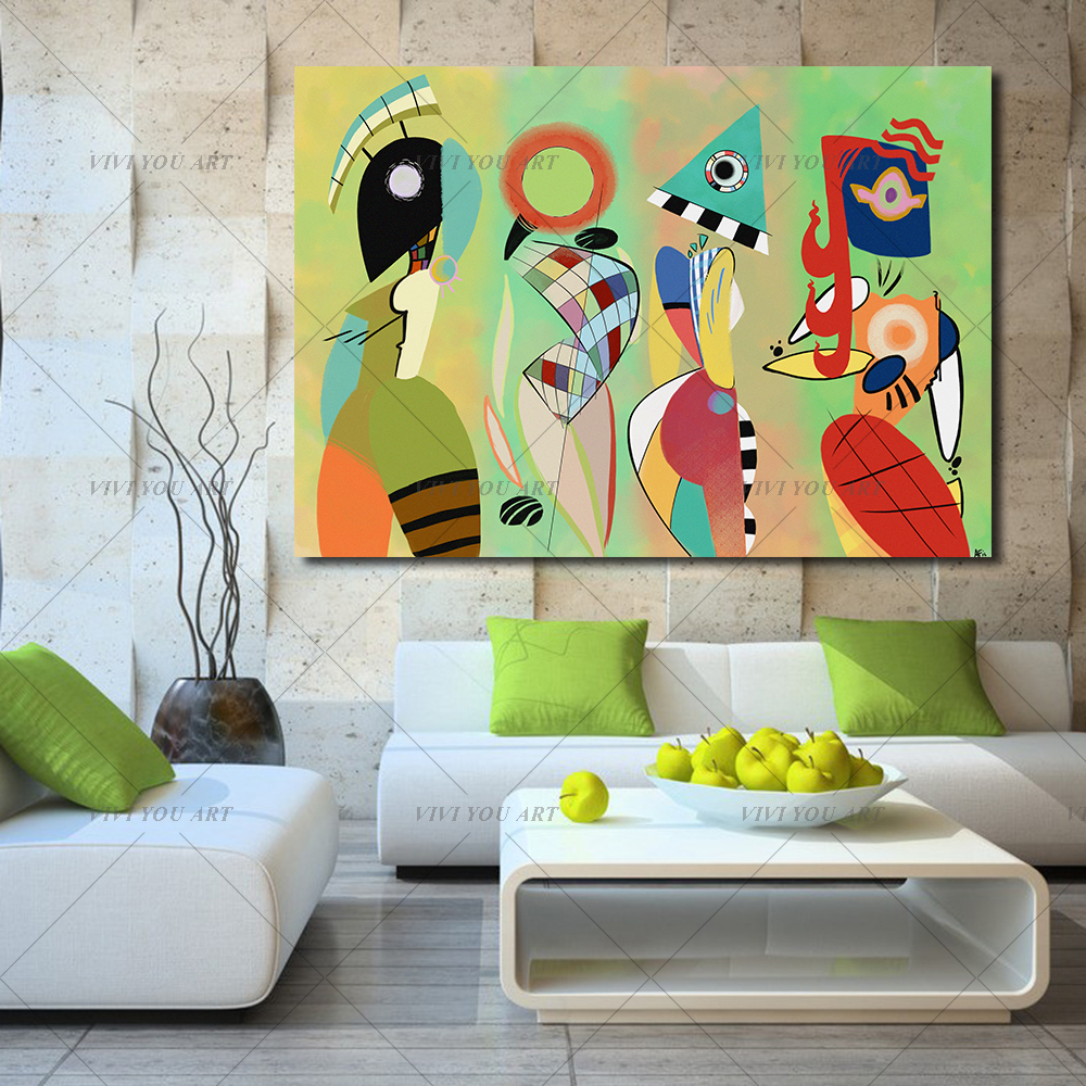 100% Handmade Abstract Canvas Art Wassily Kandinsky Wall Pictures For Living Room Bedroom Modern Painting Home Decor No Frame-in Painting & Calligraphy from Home & Garden    1
