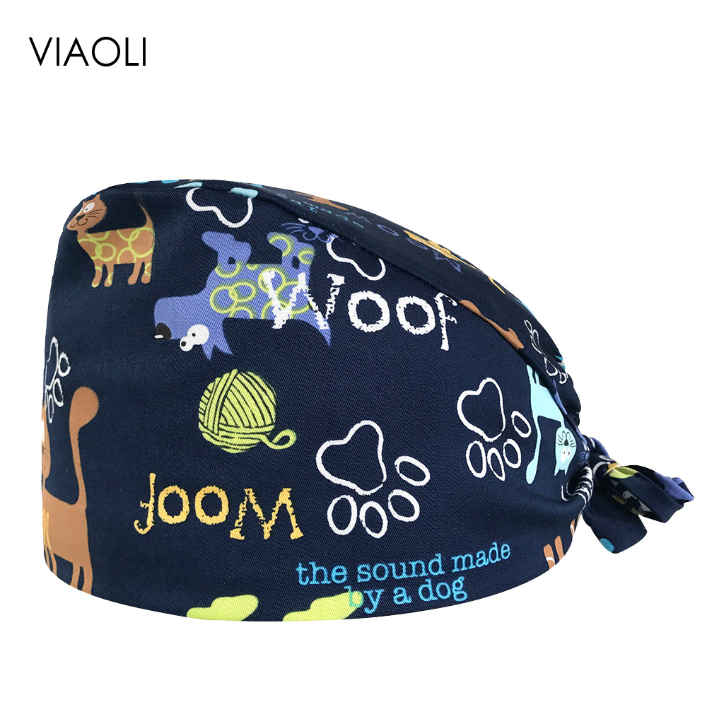 VIAOLI Men Women Medical Scrubs Pharmacy Work Cap Surgery Nurse Hat Oral Cavity Dental Clinic Pet Veterinary Surgical Cap010