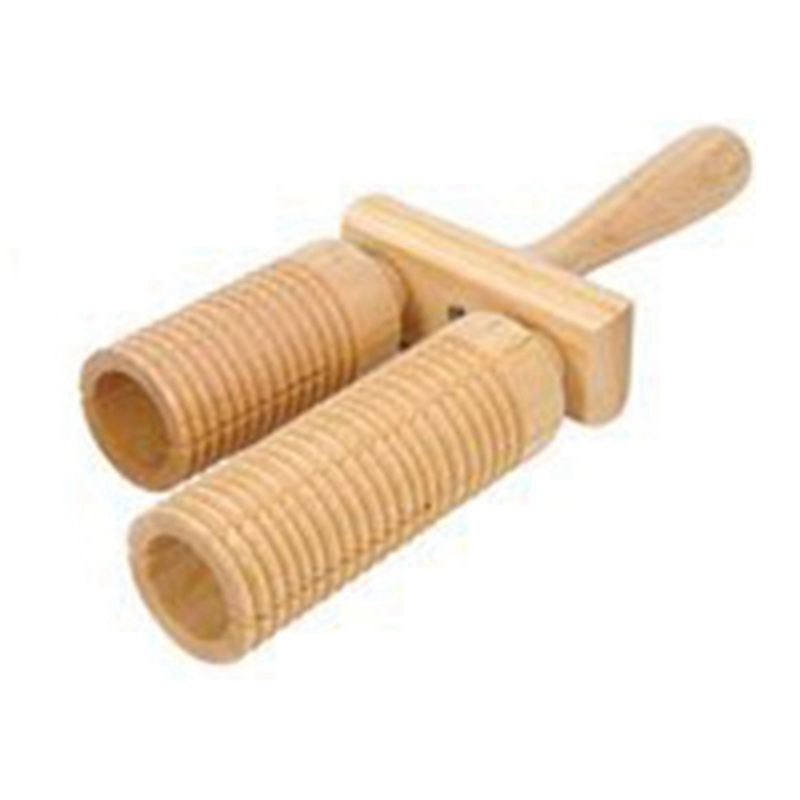 Music Percussion Pair Of Wooden Agogo Bells Connected To Wooden Handle With Wooden Sticks For Children's Toys