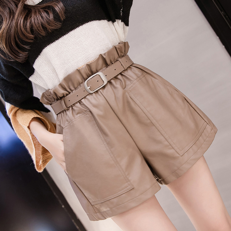 PU Leather Wide-legged Shorts Women Empire PU Ruffles Elastic Waist Shorts Girls A-line Faux Leather Shorts Bottoms GD5588
