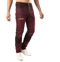 Men Plus Size Men's Jeans Fashion Brown Red Distressed Jeans Slim Stretch Hip Hop Ripped Jeans Men Streetwear Pants 42