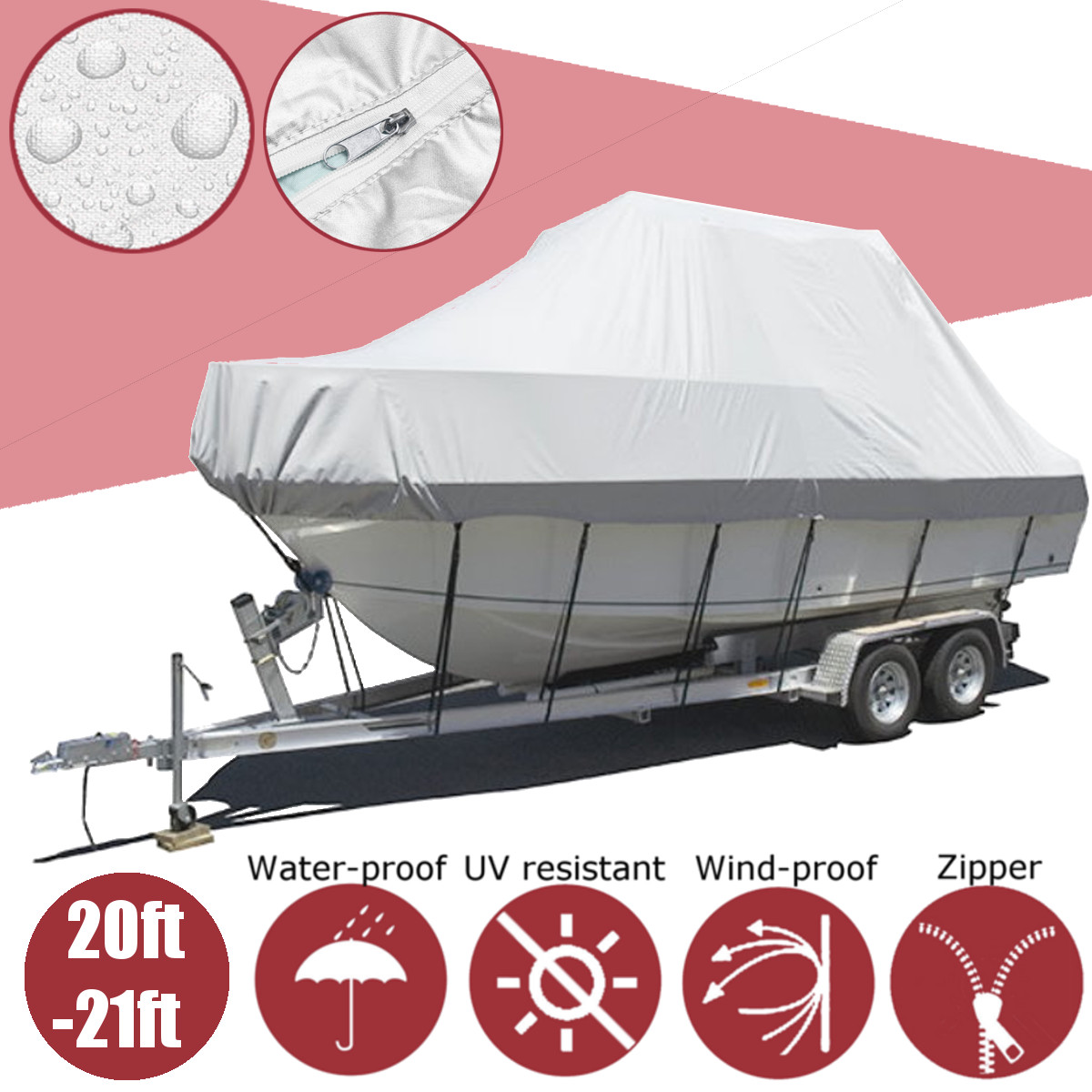 600D Waterproof Heavy Boat Cover Anti UV 6400*264*135cm/21*8.7*4.4ft Fishing Boat Trailerable Boat Cover With Zipper