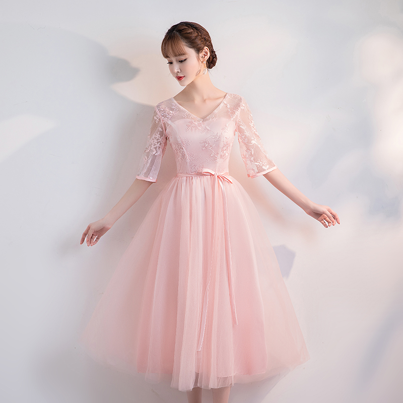 Tea Length Elegant Dress Women For Wedding Party Club Dress Simple Prom Graduation Vestido Pink Junior Bridesmaid Dress Bandage