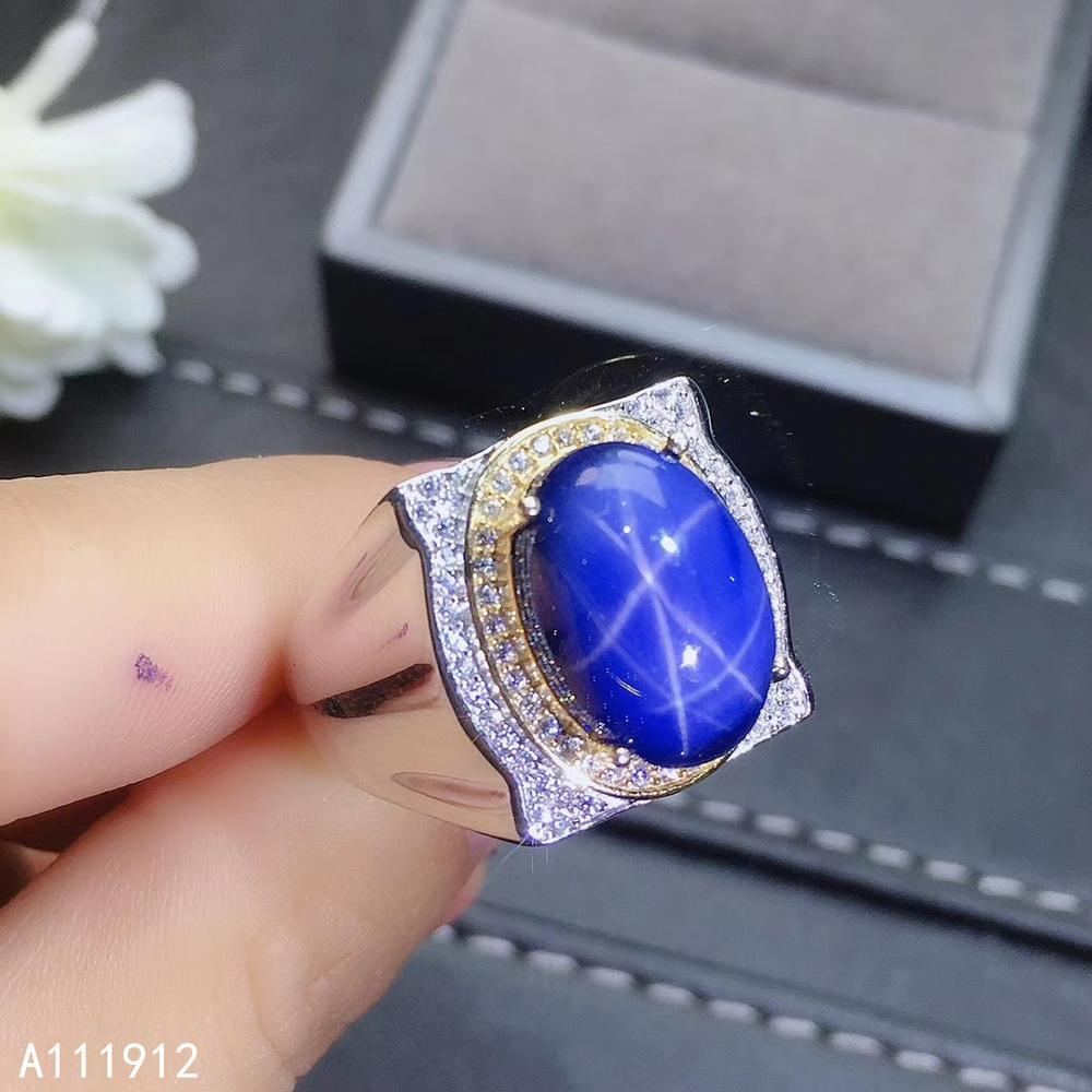 KJJEAXCMY fine jewelry natural star sapphire 925 sterling silver new adjustable gemstone men ring support test luxury beautiful