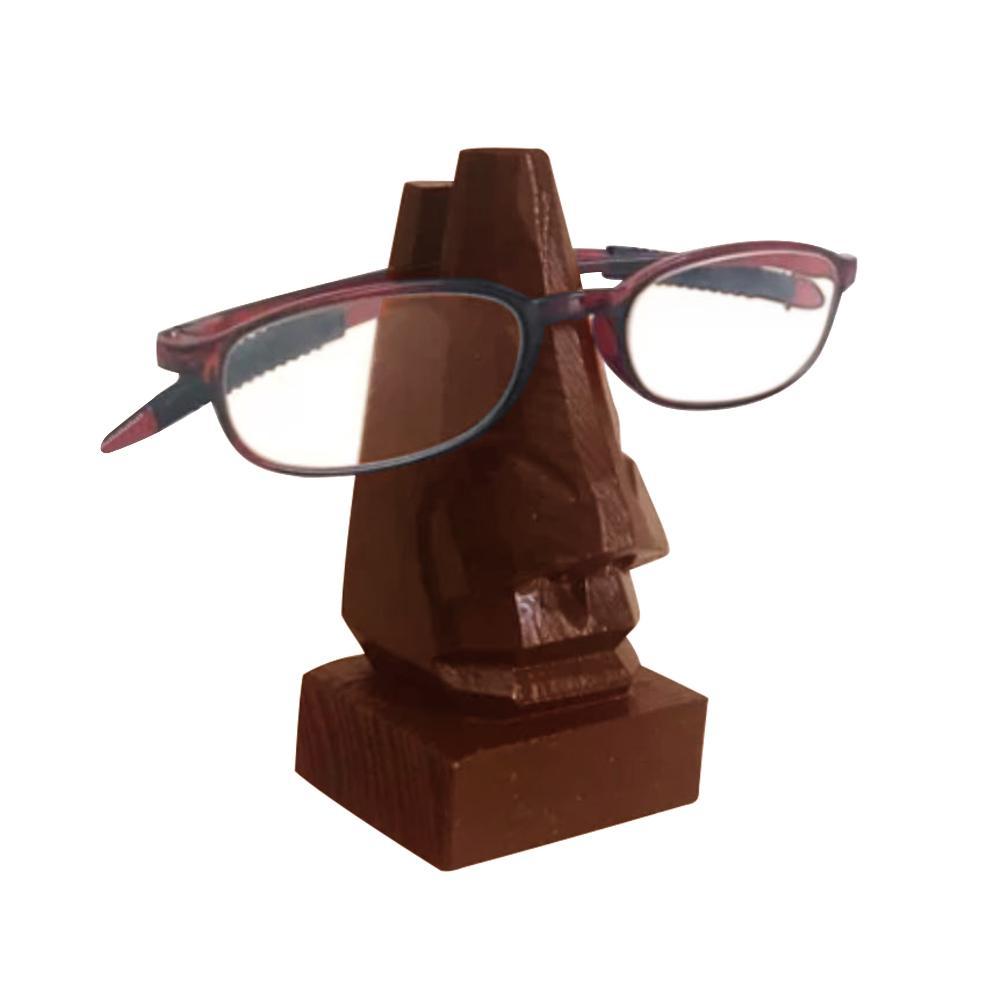 Feito à mão de madeira esculpida nariz óculos quadro titular casa acessórios de mesa óculos titular