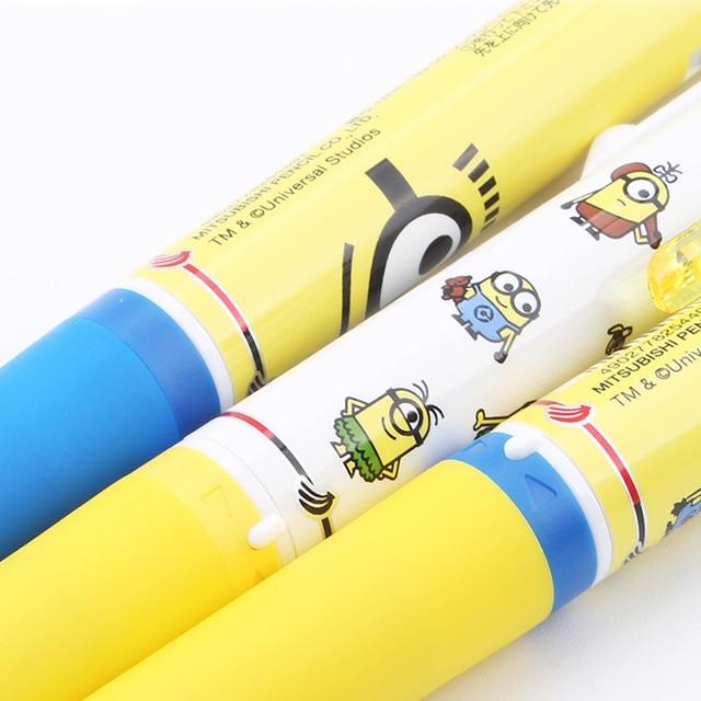 UNI Limited Edition Minion Cartoon Gel Pen  URE3-600 0.5mm  Three-color Erasable Gel Pen Rotary Change Core Press Type