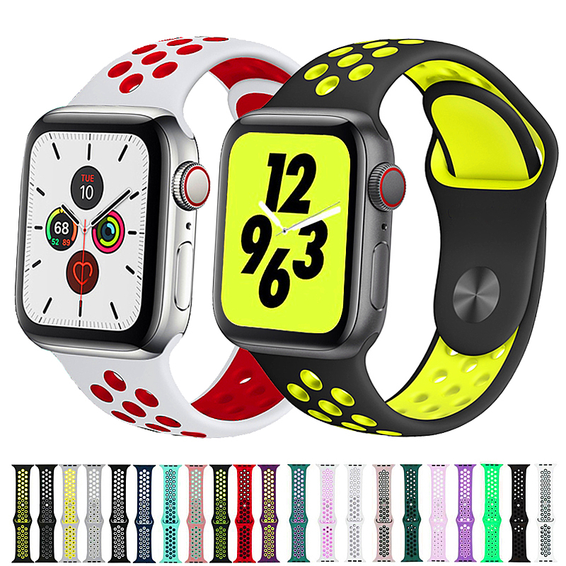 Sport Strap For Apple Watch Band Correa Iwatch Band 42mm 38 Mm 44mm 40mm Silicone Watchband Bracelet Apple Watch 5 4 3 2 1 42 44