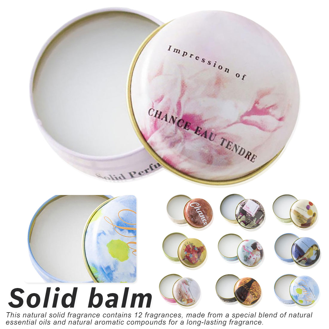 1PCS 15g  Portable Round Box Solid Perfume Body Fragrance Skin Care Essential Oil Solid Perfume For Men Women