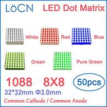 8x8 8*8 3mm LED Dot Matrix Display RED GREEN BLUE WHITE Module Common Cathode Anode 32*32mm 1.9mm 5mm 3.0mm digital tube 1088