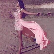 Роскошные розовые вечерние платья из Дубая с цветами новинка