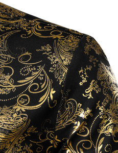 Image 5 - Chemises à fleurs pour hommes en or brillant coupe ajustée Chemise bronzante hommes mariage Club scène Chemise de bal Homme Chemise Homme Camisas Masculina XXL
