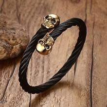 Granny Chic Double Skull Bangle Bracelet 316L Stainless Steel Punk Style Band Party 2 Colors Black Gold Biker