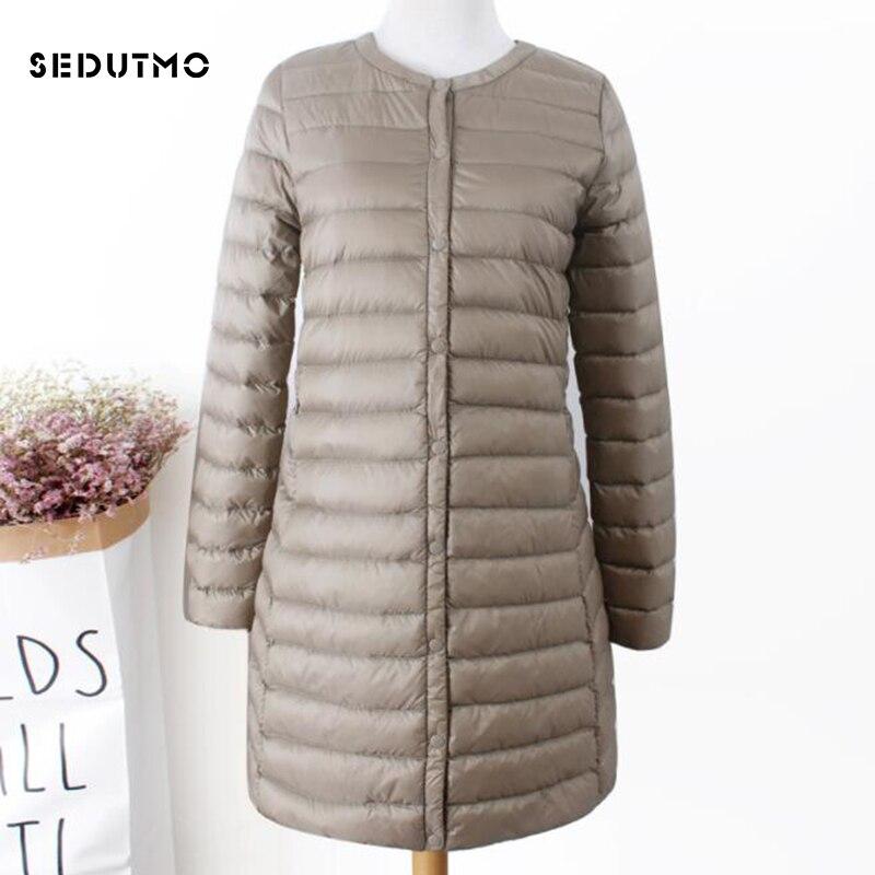 SEDUTMO Winter Plus Size 3XL Womens Duck Down Coat Ultra Light  Long Puffer Jacket Black Autumn Parkas ED856