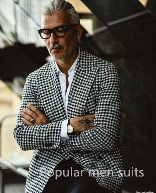 Custom Made Double Breasted Houndstooth Groom Tuxedos Peak Lapel Groomsmen Mens Wedding 2 Piece Suits Blazers (Jacket+Pants+Tie)