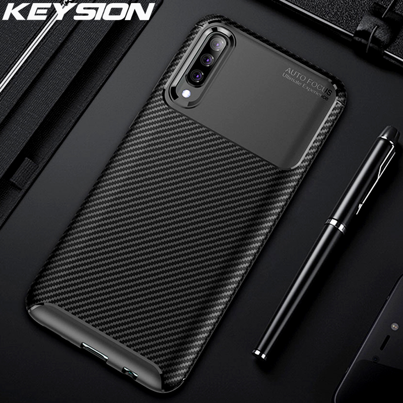 Keysion Case Voor Samsung A70 A50 A30 A20 A10 A40 10 S 20 S Carbon Fiber Silicon Telefoon Cover Voor samsung Galaxy S10 Note 10 Plus S9