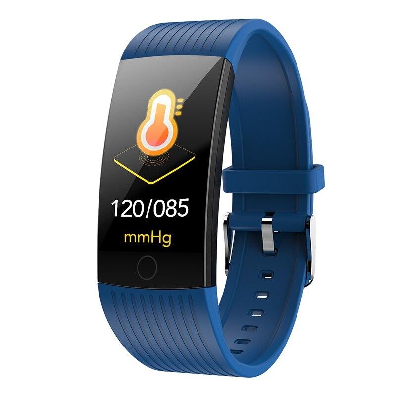 Фитнес-трекер монитор артериального давления Браслет Водонепроницаемый сенсорный экран ультра-тонкий смарт-часы браслет для iOS Android - Цвет: Blue