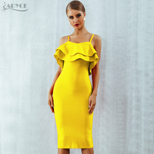 Adyce Summer Women Bodycon Red Bandage Dress Sexy Spaghetti Strap Strapless Ruffles Midi Celebrity Evening Party Dress Vestidos