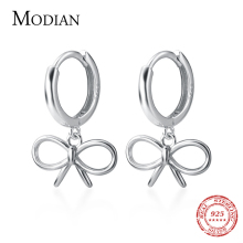 Modian Bowknot Shape Hoop Earrings Elegant Silver Earrings for Women Lady 925 St