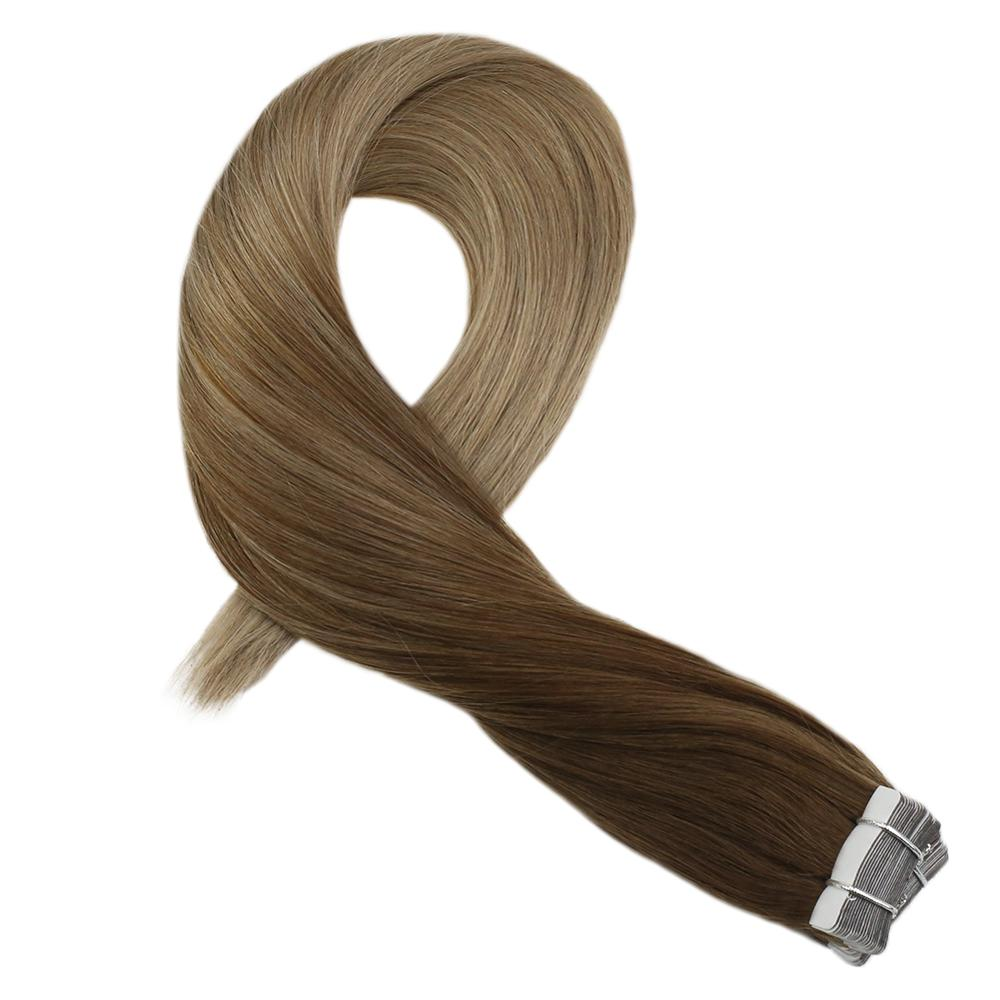 Moresoo Remy Tape In Human Hair Extensions Brazilian Hair 14-24 Inch Skin Weft Brown #8 Ombre To Golden Blonde #16  2.5G/Pcs