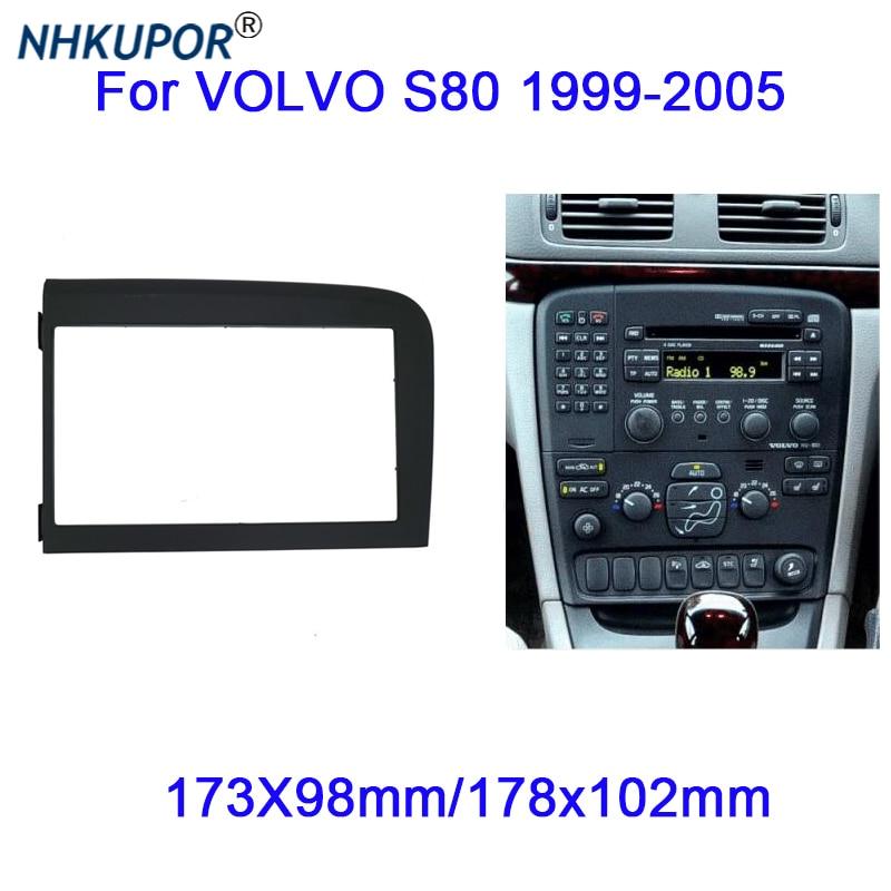For Volvo S80 1999-2005  Stereo Fascia Dash Panel 2 Din Frame Trim Kit