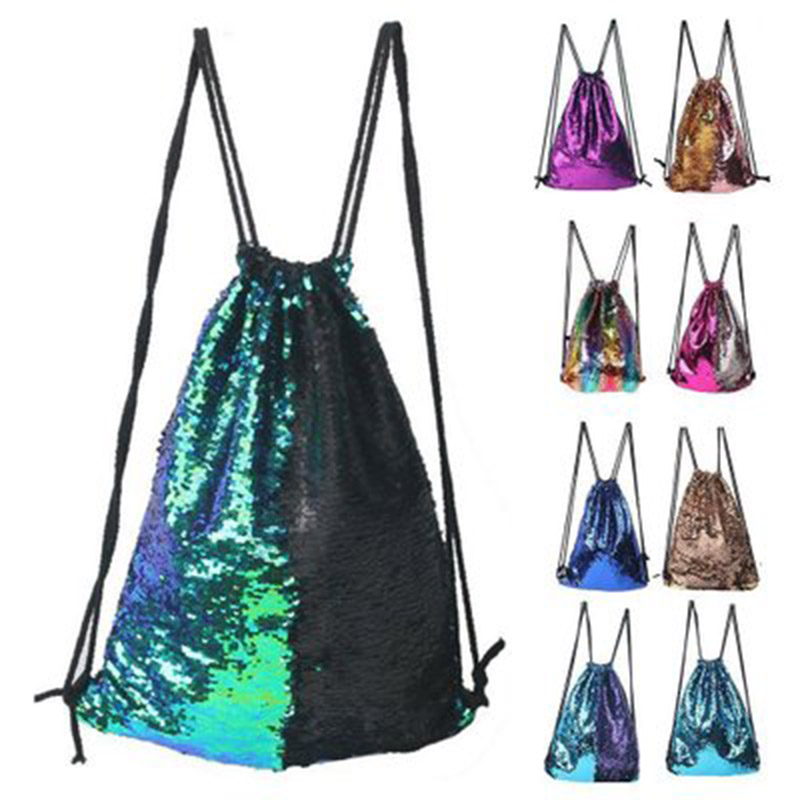 Women Reversible Sequins Backpack Fashion Girls Drawstring Travel Dance Bag New