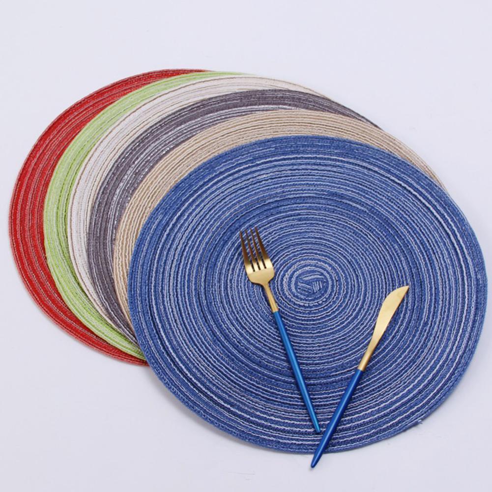 Хлопчатобумажная пряжа круглый стол коврик Водонепроницаемый столовая посуда Коврик Non Slip салфетка под чашку колодки для питевых чашек подставки кухонные принадлежности|Коврики и подложки| | АлиЭкспресс