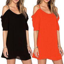 Mini Women's Off Shoulder Dress Plus Size Chiffon Baggy Tee Shirts Tops Blouse