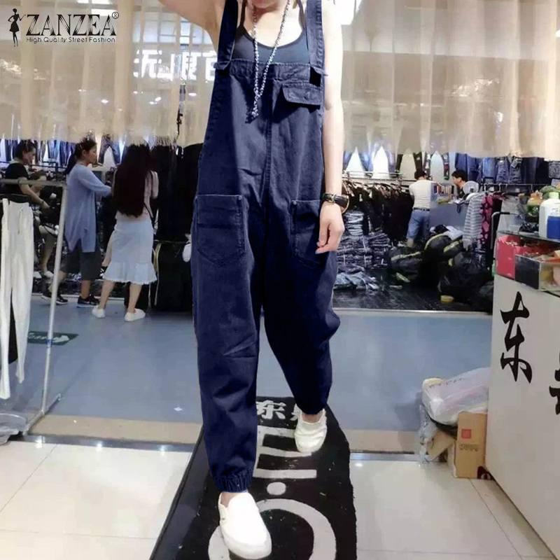 ZANZEA 2020 Women's Denim Blue Jumpsuits Vintage Sleeveless Suspender Overalls Casual Playsuits Female Rompers Solid Harem Pants