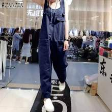 ZANZEA 2020 frauen Denim Blue Overalls Vintage Sleeveless Strumpf Overalls Casual Playsuits Weibliche Strampler Solid Harem Hosen(China)