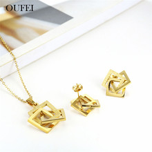 OUFEI Stainless Steel Jewelry Sets for Women Star Necklace Earrings Geometric Necklace Set Of Earrin
