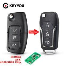 Keyyou chave de controle remoto do carro para ford fusion focus mondeo fiesta galaxy hu101 lâmina 433mhz 4d63/4d60 chip modificado flip chave