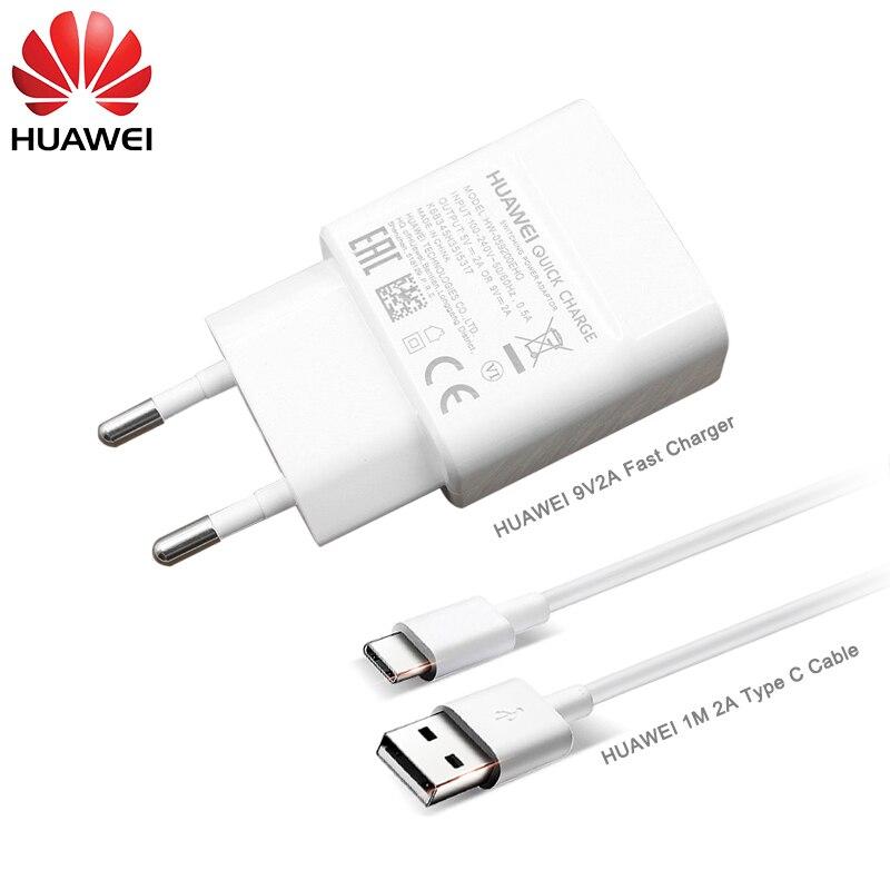 9V/2A USB EU Быстрая зарядка 1M USB 3,1 TYPE C кабель для передачи данных быстрое зарядное устройство для HUAWEI P9 P10 Plus P20 Mate 20 Pro Honor NOTE 9 10 V8 9