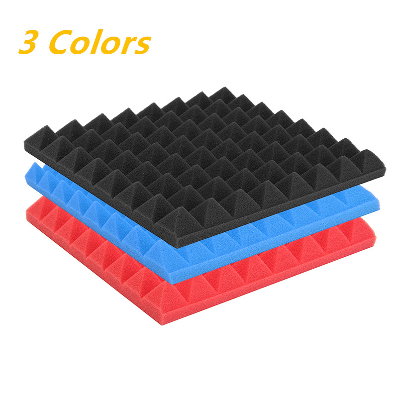 1 Pcs Black/ Blue/ Red Sound Absorbing Cotton Acoustic Foam Pyramid Tiles For Studio Sound Room Music Soundproofing Foam