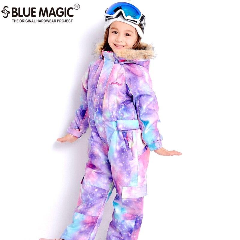 19 лыжных костюмов bluemagic для детей, водонепроницаемый комбинезон для прогулок на открытом воздухе для девочек и мальчиков, куртка для сноуборда Водонепроницаемый Лыжный комбинезон-30 градусов - Цвет: PPL GLX