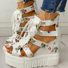 Summer Shoes Wedges Platform Women Sandals High-Heels Hot-Print Woman Casual INS Leisure