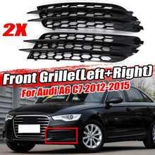 Chrome/preto rs6 estilo abs 2x frente do carro luz de nevoeiro grille capa guarnição para audi a6 c7 sedan 2012 2013 2014 2015 luz nevoeiro grill
